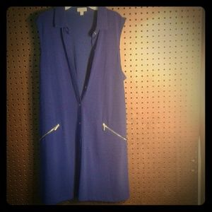 Sleeveless Blue Button Down Professional Dress